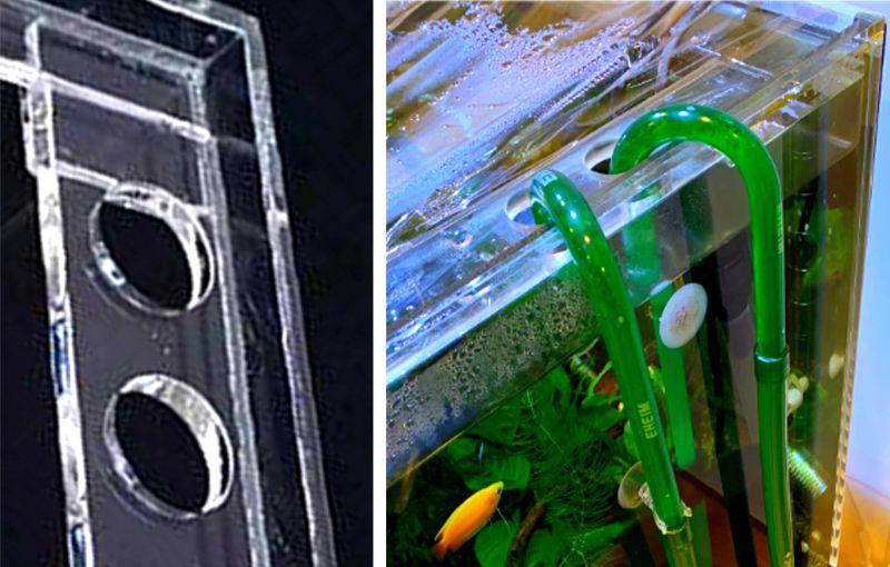 アクリル水槽のフランジに穴あけ加工をして配管を通すことが可能