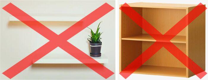 壁棚や天板の薄いカラーボックスなどに水槽を置くのは危険