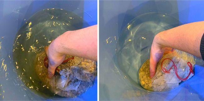 多孔質のボール状ろ材やリングろ材は定期的に洗浄して再利用が可能