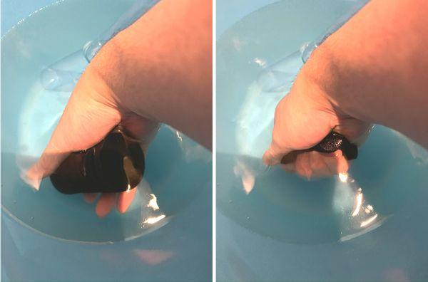 スポンジフィルターのスポンジは目詰まりしないように定期的に揉み洗いする