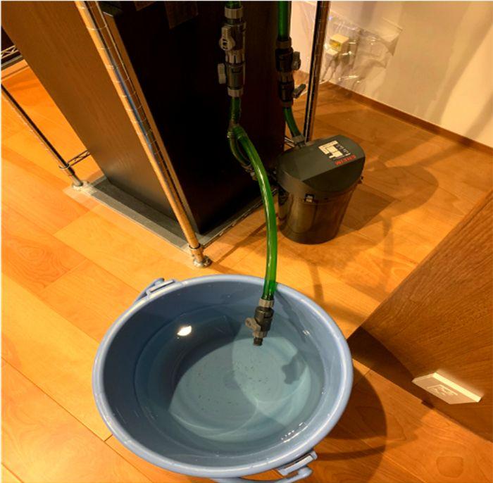 外部式フィルターの排水ドレーンで水換えが楽になる