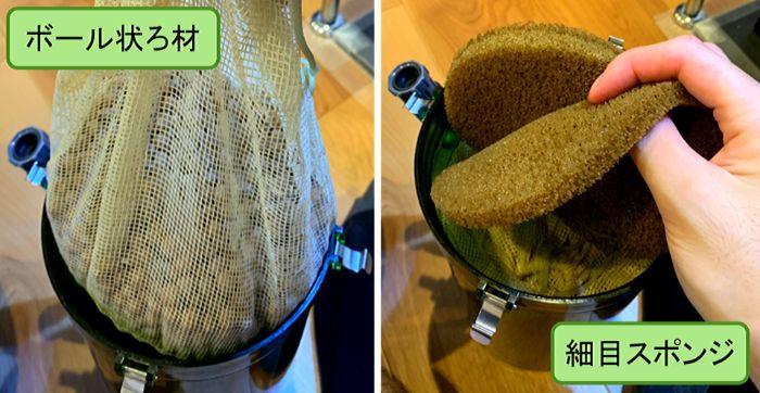 外部式フィルターの多孔質ろ材の後にスポンジやウールマットなどを入れてインペラーを保護