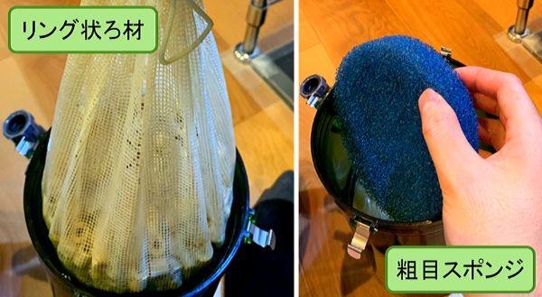 外部式フィルターの物理ろ材としてリング状ろ材やスポンジを入れる