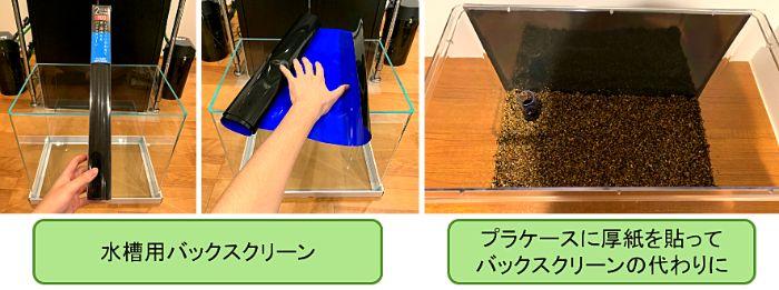 メダカ水槽にバックスクリーンを使用するとメダカを落ち着かせる効果や色落ち防止の効果、水景を引き締める効果がある