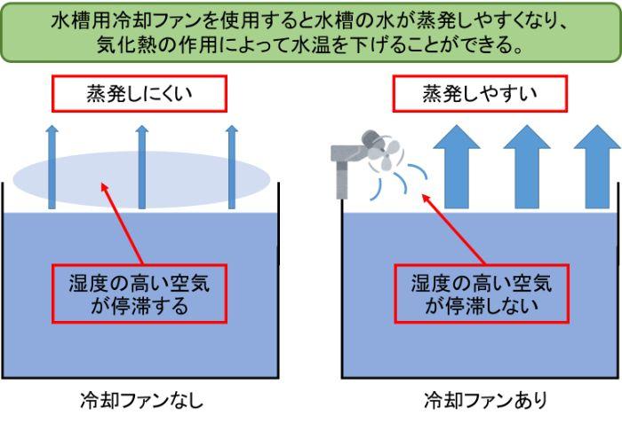 水槽用冷却ファンは水面に風を当てて水の蒸発を促して気化熱の作用で水槽の水温を下げる